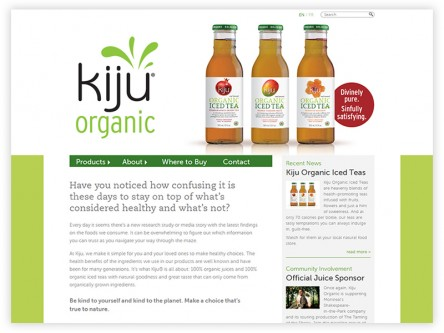 Nothing But Nature - Makers of Kiju Organic Juices and Iced Teas – Website redesign and development